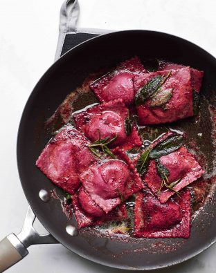 Double Beet Raviolis with Beet-Rosemary-Ricotta Filling