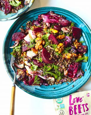 Beets and Lentils with Radicchio and Spiced Honey Walnuts