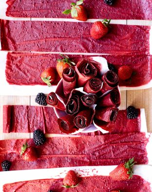 Beet Berry Fruit Roll-Ups with strawberries and blackberries