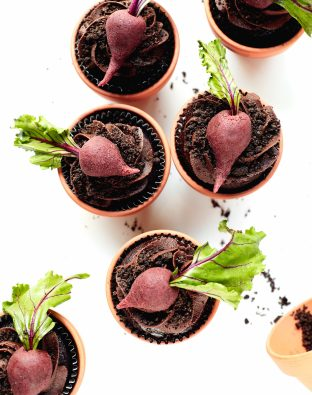 Chocolate-Beet and Dirt Cupcakes in flower pots