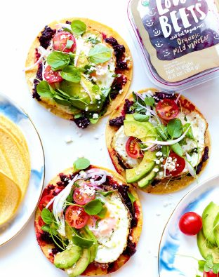 Beet-Rizo Breakfast Tacos with tomato and avocado