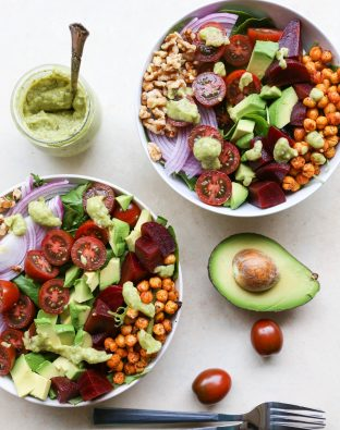 Vegan Beet Cobb Salad with Green Goddess Dressing