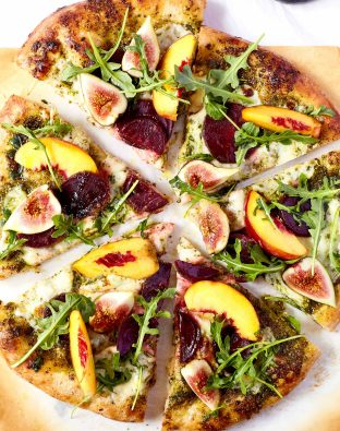 Beet and Summer Fruit Pizza with Pesto
