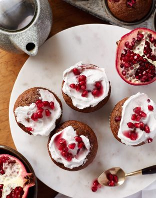 Spiced Beet & Pomegranate Muffins with frosting
