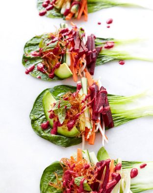 thai bok choy and beet spring roll recipe