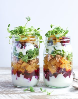 red and golden beet parfait