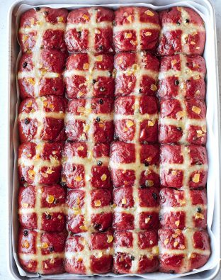 beet hot cross buns