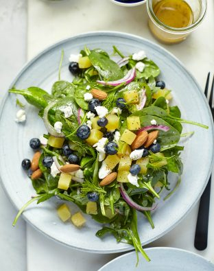 honey golden beet and blueberry salad