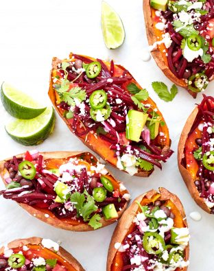 beet stuffed sweet potatoes with avocado