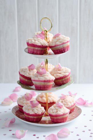 beet vanilla cupcakes on a serving tray