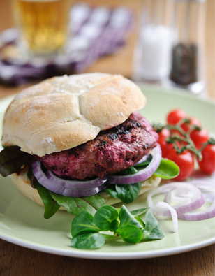 Lamb & Sweet Chili Beet Burgers with Feta