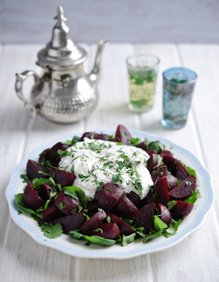 Moroccan Beet & Herb Salad with Yogurt Dressing
