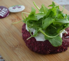 beet burger on a wooden board