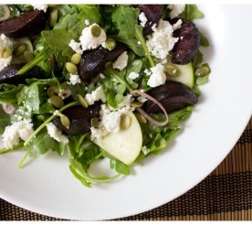 roasted beet and apple salad on a plate