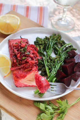 salmon with beets and asparagus