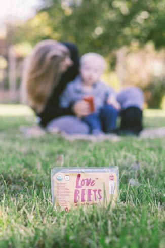 mom and son with love beets package