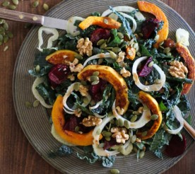 Fennel, Beet, and Squash Salad on a plate