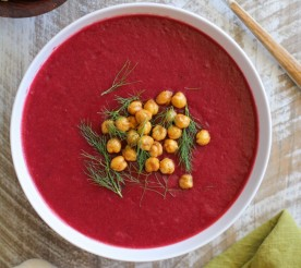 Beet Fennel Soup with Roasted Chickpeas