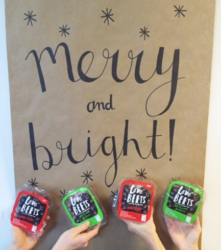 merry and bright sign with love beets packages