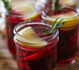 beet fire cider with lemon garnish