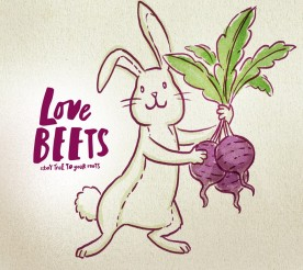 bunny holding beets