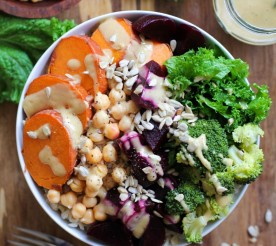 power bowl with beets, sweet potatoes and chickpeas