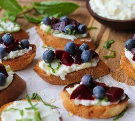 red white and blueberry beet bruschetta