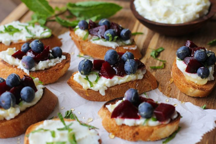 red white and blueberry beet bruschetta