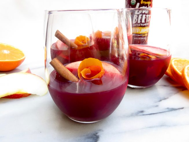 beet and cinnamon cocktails