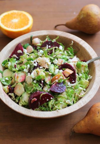 Shaved Brussels Sprouts Salad with Pears, Beets, and Gorgonzola
