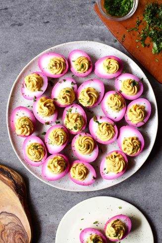beet dyed deviled eggs