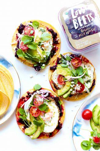 Beet-Rizo Breakfast Tacos with tomato and avocado