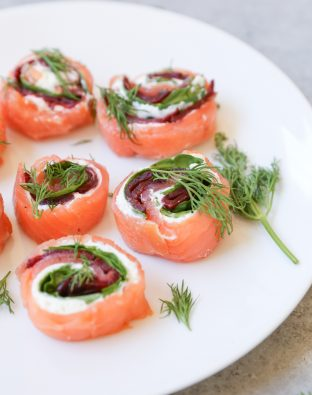 Salmon Rolls with Cucumber Raita