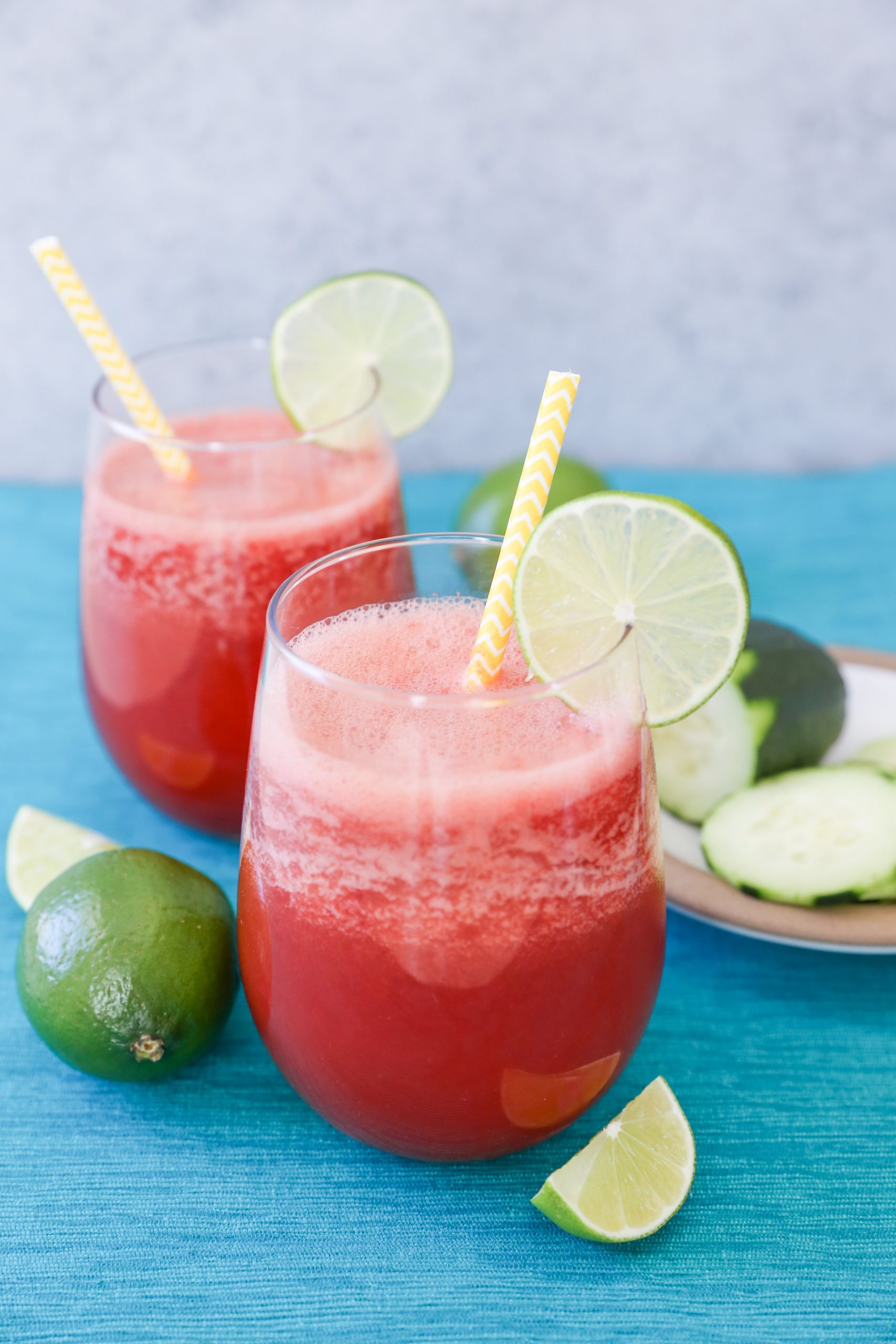 Watermelon-Beet Cucumber Lime Cooler with straws