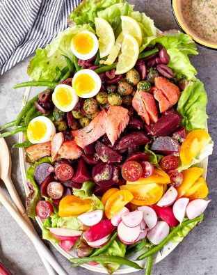 Beet and Salmon Niçoise salad