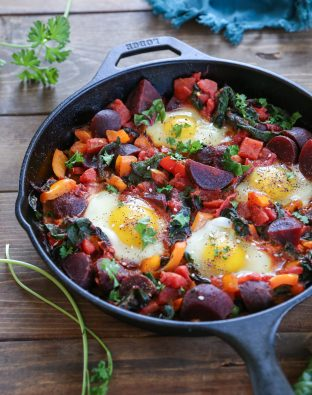 recipe for Beet Shakshuka with Rainbow Chard