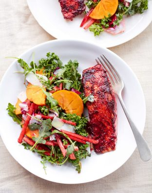 Honey-Beet Salmon with Beet Stained Apple Matchstick Salad
