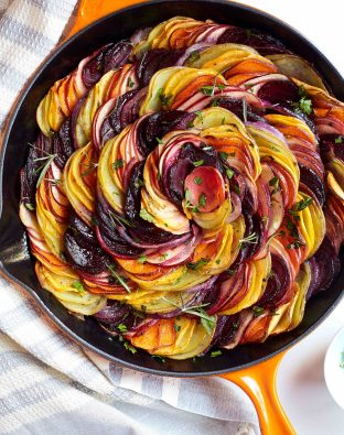 Beets and Sweets Gratin in a pan