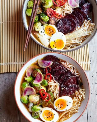 veggie ramen with miso and beets