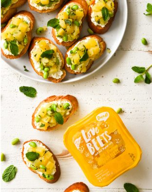 golden beet toasts